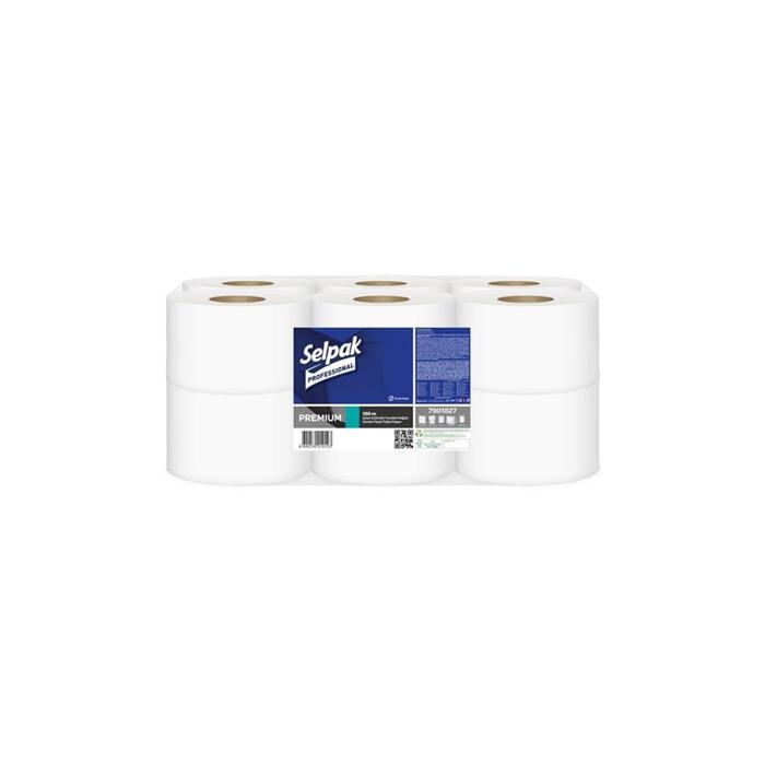 Selpak Professional Premium İçten Çekmeli Tuvalet Kağıdı 120 m 12 Rulo resmi