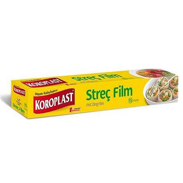 Koroplast Streç Film 30cmx100 mt ( Pratik Kesme Bıçağı Hediyeli) resmi