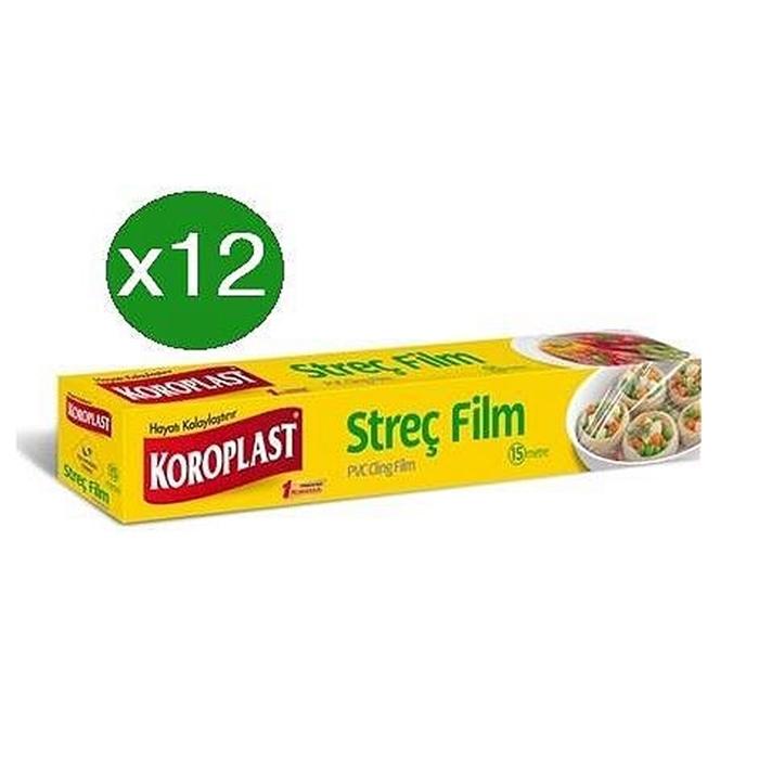 Koroplast Streç Film 30cmx100 mt ( Pratik Kesme Bıçağı Hediyeli Paket )*12 Adet resmi