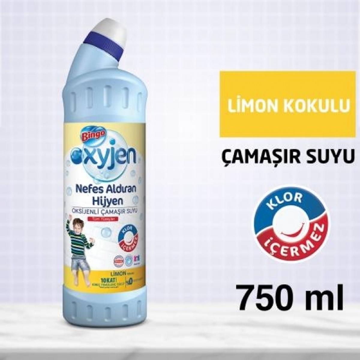 Bingo Oksijen Çamaşır Suyu 750ml 15'li Koli-Limon Kokulu resmi