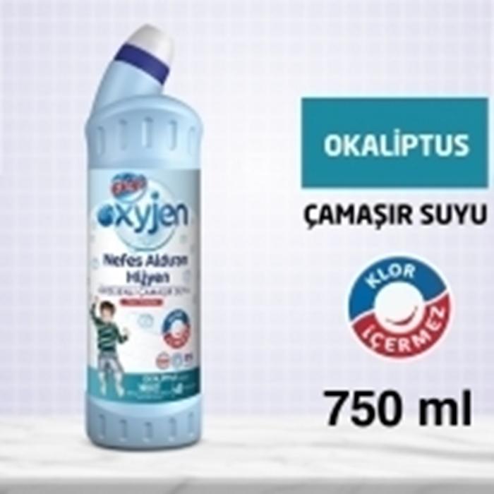 Bingo Oksijen Çamaşır Suyu 750ml 15'li Koli-Okaliptus Kokulu resmi